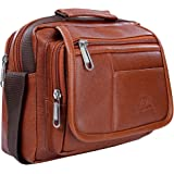 Leather World PU Leather Sling Cross Body Travel Office Business Messenger Bag for Men Women (22 x 8 X 21 cm) (Tan)