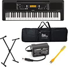 Blueberry Yamaha PSR E-363 Digital keyboard with Adapter & Bag along with USB LED and Keyboard Stand (Black)