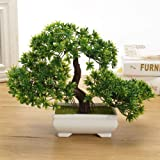 DecoratingLives Mini Cute Artificial Plants Bonsai Potted Plastic Faux Green Grass Fake Topiaries Shrubs for Home Decor…
