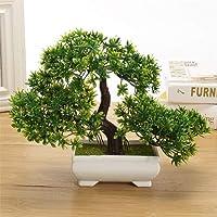 DecoratingLives Mini Cute Artificial Plants Bonsai Potted Plastic Faux Green Grass Fake Topiaries Shrubs for Home Decor…