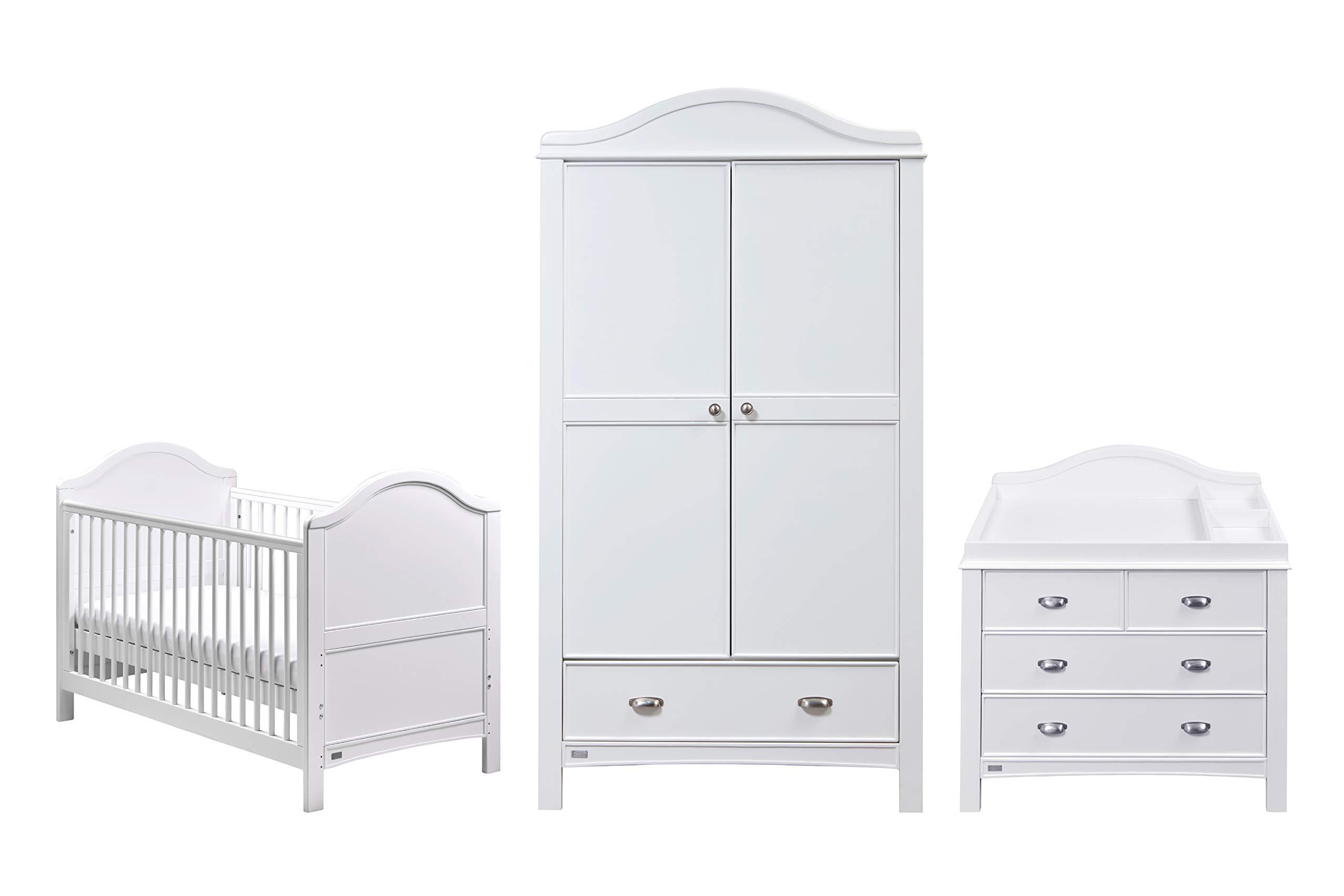 East Coast Nursery Toulouse Room Set, White East Coast Nursery Ltd Cot bed Dresser Wardrobe 1