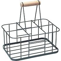 Kitchen Craft LNBCARRIER Living Nostalgia Panier 6 Bouteilles, Fer, Gris, 32 x 32 x 22 cm