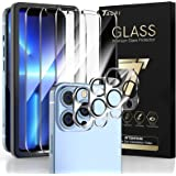 TAURI 3 + 3 Pack Compatible with iPhone 13 Pro Max 6.7 Inch, 3 Pack Tempered Glass Screen Protector, 3 Pack Camera Lens Prote