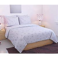 Trendz Décor Cotton 4 Piece 300TC White Shining Duvet Cover Set with Zip- 90 x 100 inches