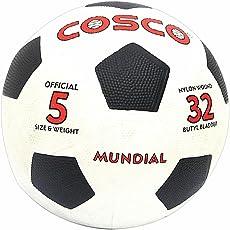 Cosco Mundial Foot Ball, Size 5 (White/Black)