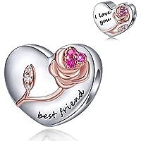 FOREVER QUEEN Ich Liebe Dich Herz Charm Bead für Armband Herz Charms Anhänger 925 Sterling Silber für Armband und…