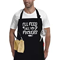 I'll Feed All You - Funny Black BBQ Chef Aprons for Men Women with 2 Pockets - Dad Gifts, Gifts for Men - Birthday Gifts…