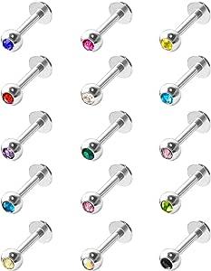 15 Pezzi Piercing del Labbro in Acciaio Inossidabile Labbro Barra Piercing al Anello del Corpo Cartilagine Trago, 16 Gauge, 15 Colori