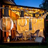 Guirlande Guinguette Solaire, 5.48M Bomcosy Guirlande Lumineuse Extérieure G40 10 LED ampoules avec 2 ampoules Rechange, Etan