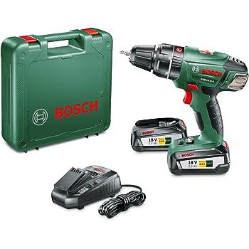 Bosch PSB 18 LI-2 (2 Batterie) Trapano Avvitatore-Battente, Ioni di Litio, Nero/Verde/Rosso