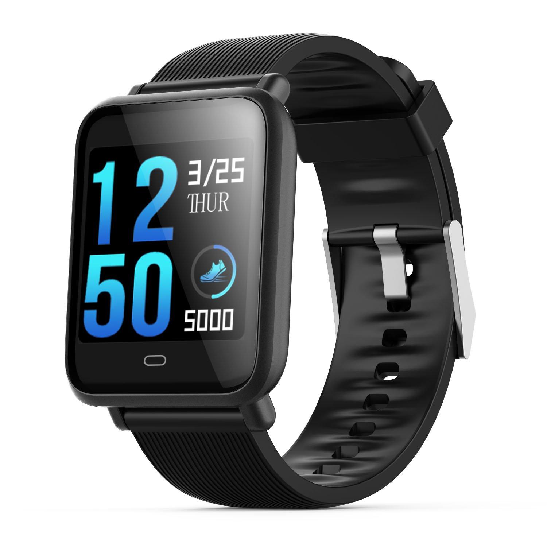 TOOGOO Q9 smartwatch with heart rate monitor blood pressure clock smart watch support Facebook WhatsApp for men women, Black