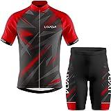 Lixada Ropa de Ciclismo para Hombre,Manga Corta Transpirable + Pantalones Cortos Acolchados,Traje de Ropa de Bicicleta de Mon