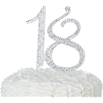 18 Cake Topper For 18th Birthday Number Party Supplies Decoration Ideas Silver