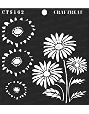 """CrafTreat Stencil - 2 Step Layered Daisy   Reusable Painting Template for Art and Craft, Mixed Media, Wall Painting, Home Decor, DIY Albums, Card Making and Fabric Painting, 6""""X6"""""""