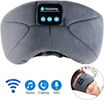 Bluetooth Sleep Eye Mask with Headphones,WUMINGLU Upgrade Wireless Bluetooth Sleeping Headphones Handsfree Music Eye Shades Built-in Microphone Washable for Travellng-Grey