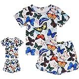 ModaIOO Conjunto de pijama de unicornio de sirena de dinosaurio a juego para niñas