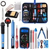 Soldering Iron Kit,WOWGO 60W Adjustable Temperature Welding Tools Set with 5 Soldering Tips,Digital Multimeter,Soldering…