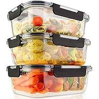 edallo® 3 Grandes boites de Conservation Alimentaire en Verre avec couvercles Tritan® - Adaptés au Lave-Vaisselle, Four…