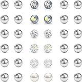 LAURITAMI 36pcs Palline di Ricambio 14G 5mm in Acciaio Chirurgico Piercing Linguette Ombelico Barbell Bilanciere Gioielli per