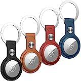 Benazcap 4 Pack PU Lederen Case voor AirTags Key Finder (Locator Tracker), Mini AirTags Tracker Cover Huid en Hard AirTag Sle