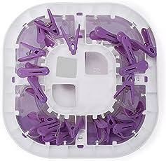 Chhote Saheb Plastic Foldable Hanger - Hanging Portable Clothes/Diaper Dryer Rack - Laundry Peg 20 Clip Kids Underwear Nappies Cloth Diaper Bibs Hanger (Purple)