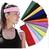 LEBQ 12 Stks Stretch Elastische Yoga Katoen Hoofdbanden Gemengde Kleuren voor Tieners, Meisjes en Vrouwen