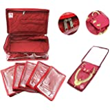 Atorakushon Satin Women's Jewellery Organizer Necklace Pouches Ring Earring Travelling Make up Kit with 5 Pouch (Maroon)