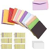 130 PCS Mini Enveloppe, Enveloppes Couleur pour Carte Cadeau, Mariage, Anniversaire, Fête, avec 100 × Carte + 330 × Autocolla