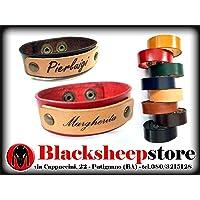Bracciale in cuoio 2 cm con incisione personalizzata, nome, artigianale, Made in Italy