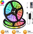 Elfeland LED Streifen 10M LED Strip Stripes RGB 300 Leds 5050SMD LED Band Lichterkette Bänder Hintergrundbeleuchtung mit 44 Tasten Fernbedienung IP65 Selbstklebend Innen außen Beleuchtung Full Kit
