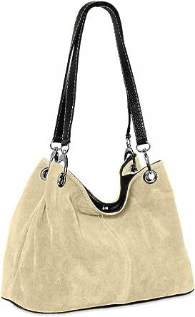 Caspar TL621 klassische Damen Wildleder Handtasche