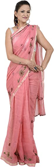 Tribes India Women's Hand Embroidered Saree : RJTx(Multi-Coloured,(6 Mtrs.))