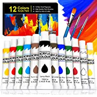 Buluri Kit di 12 Colori Acrilici, Colori Acrilici per Dipingere da 12 ml, Colori Acrilici Set Pittura per Bambini…