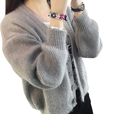 YOUJIA Womens Cardigan Soft Knit Button Sweater V Neck Ladies ...