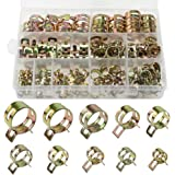 DXLing 120 Pieces Spring Hose Clamps 12 Sizes Metal Fuel Line Hose Clips Water Pipe Air Tube Hose Clamp Tubing Spring Clamps