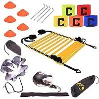 Tebery, set di cono per scaletta agilità e coni, resistenza per corsa, paracadute, coni sportivi, picchetti in metallo e…
