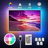 Tira LED TV 2M, RGB 5050 Impermeable USB con Control Remoto, 16 RGB Colores y 4 Modos, Retroiluminacion LED de TV para Cine e