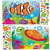 Baker Ross Kits d'illustrations vie marine en mosaïque (lot de 4) - Mosaïque autocollante en mousse pour enfants.