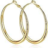 Yumay orecchini a cerchio grandi in oro giallo da 14 carati, da donna