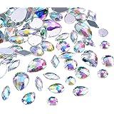108 Piezas Gemas Transparentes AB Cristales de Coser de Acrílico Facetados Diamantes de Imitación de Espalda Plana para Decor