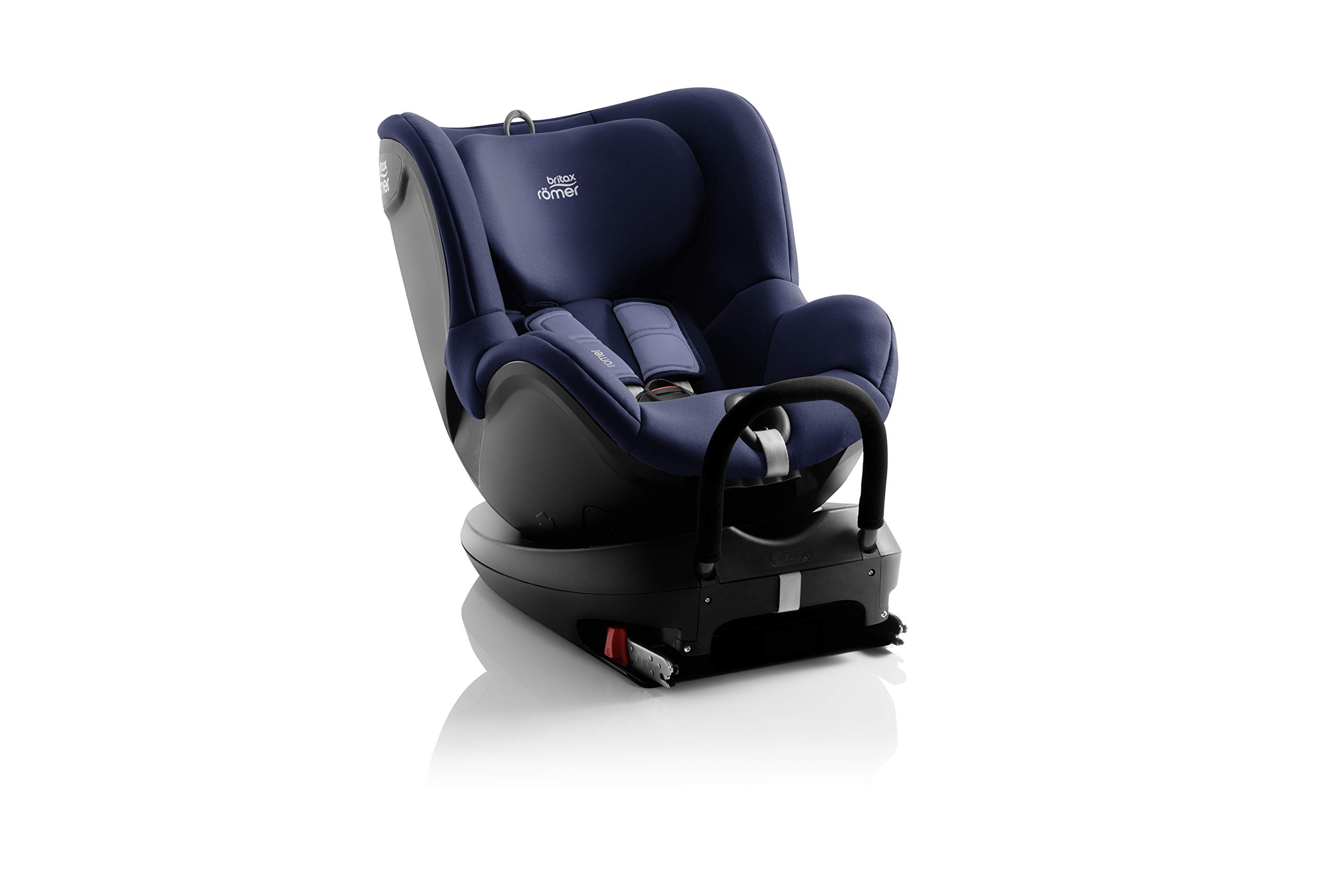 Britax Römer car seat birth DUALFIX 2 R car seat swivel group 0+/1, Moonlight Blue, 18 kg Britax Römer Intuitive 360 Degree rotation for rearward and forward facing usage Easy entry with 90 Degree rotation to the open door for easy placement of the child Extended rearward facing travel with more leg space thanks to shorter rebound bar 3