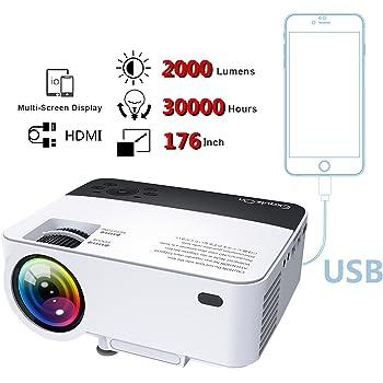 ExquizOn Mini Portatile Proiettore con 2000 Lumen Support 1080P T5 Proiettore Supporta HDMI USB SD AV VGA per Proiettare con HD Dvd Lettore Smartphone iPad Laptop Tramite USB Cavo