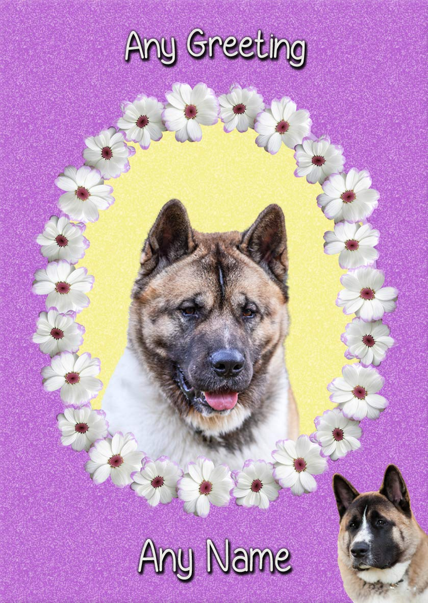 Personalised Akita Dog 'Purple' Greeting Card (Birthday, Mothers Day, Any Occasion)