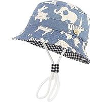 GEMVIE-Cappello da Pescatore Blu Bambini 3 Mesi- 8 Anni Stampa Modello Animali Azzurro Cappello da Sole Anti-UV…