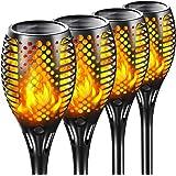 Lumières Flamme Solaire, 4 Pack Lumière Solaire de Torche IP65 flammes scintillantes imperméables LED allume Marche/Arrêt aut