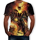 Camisetas Manga Corta Hombre Manga Corta De Cuello Redondo con Estampado Digital 3D Ghost Rider para Hombre