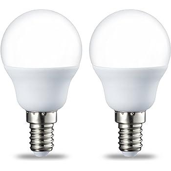 AmazonBasics E14 LED Lampe P45, Tropfenform, 5.5W (ersetzt 40W), warmweiß, 2er-Pack