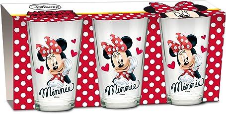 empireposter Glas-Set - Minnie Mouse Heart - 237 ml - 3 Gläser - Trinkglas Kinder Geschirr