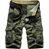 YOUTHUP Mens Work Cargo Shorts Cotton Combat Summer Half Pants Vintage Workwear Chino Army Short Bottoms