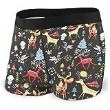 Christmas Tree with Forest Deer Animal Men's Underwear Boxer Briefs Breathable Short Leg Underwear S-XXL